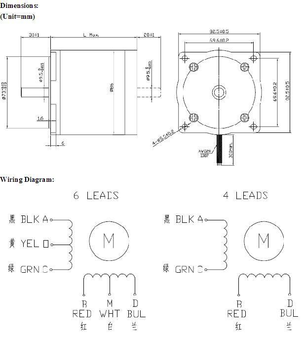 4wire Hybrid Stepper Motors NEMA34 1 8 Degree 2 Phase 86hs78-5504
