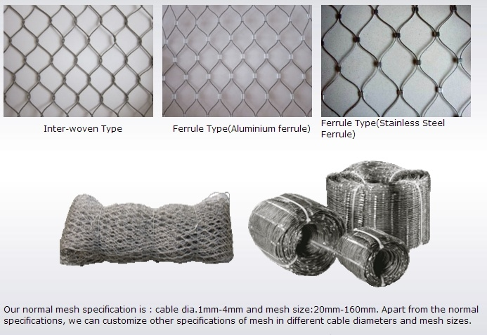 Wire Rope Mesh Fence Zoo Mesh Fence - China SUS304L SUS316lwire Mesh ...