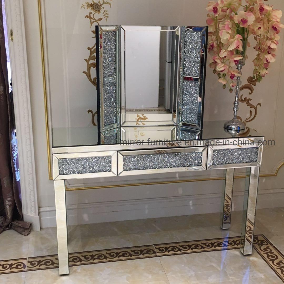 Bedroom Crushed Diamonds Mirrored Dresser With Makeup Mirror China Tripple New Design Mirror Black Diamonds Mirrored Dressing Table Set Made In China Com