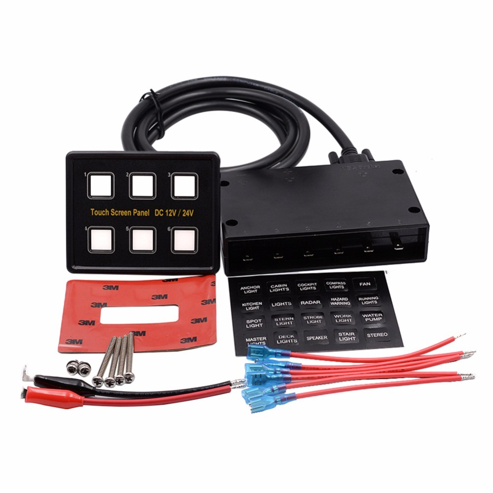 Auto Car Boat Rocker Switch Panel Ultra Slim Touch Screen China Fuse Box Light 1 X 6 Gang Circuit Control Boxdimensions853530mm 15 Pin Vga Transmission Cable 3m Double Sided Adhesive For Mounting