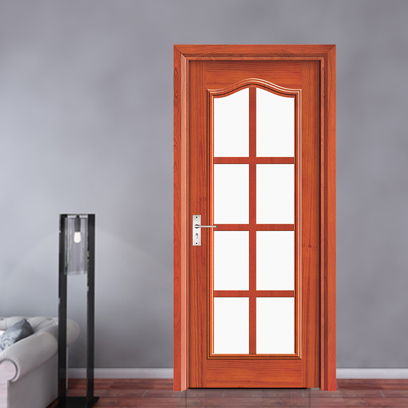 China Latest Design Kitchen Entry Exterior Wood Frame Glass Door