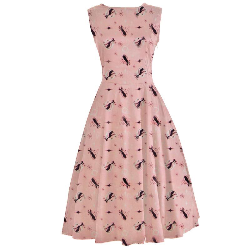 Fabricante de ropa Vintage de Mujeres Rosa gatito 1950 Rockabilly ...