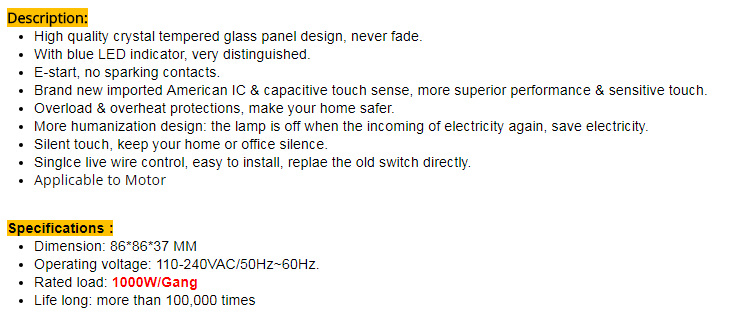 Smart House Luxury Glass Panel EU Standard Remote Control Smart Electric  Touch Curtain Wall Switch 1000W