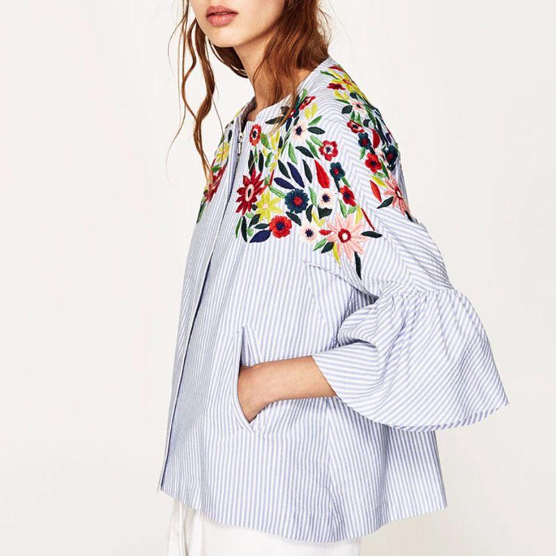 Señoras la moda blusa manga llamarada de bordado flores