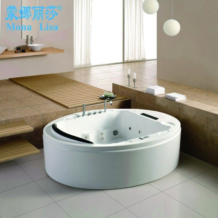 China Deluxe Design Round Corner Hydro Massage Bathtub with TV (M ...