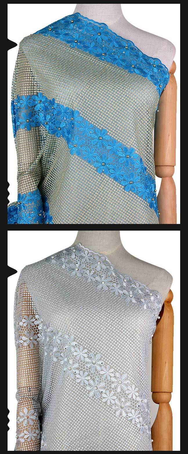 China Turkey Blue Color Beaded African Wedding Lace Fabric - China ...