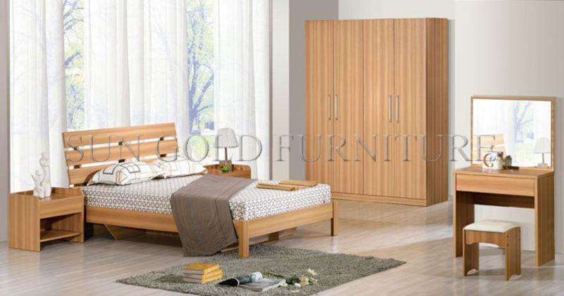 Preiswertes Modernes Hölzernes Wohnungs Schlafzimmer Möbelbett (SZ BT008)