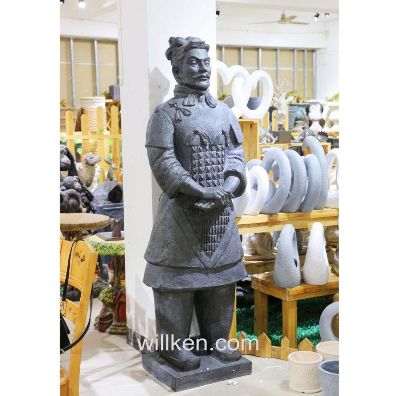 Large Terracotta Chinese Warrior Garden Statue. Lucas Stone Terracotta  Warrior Ornament Garden
