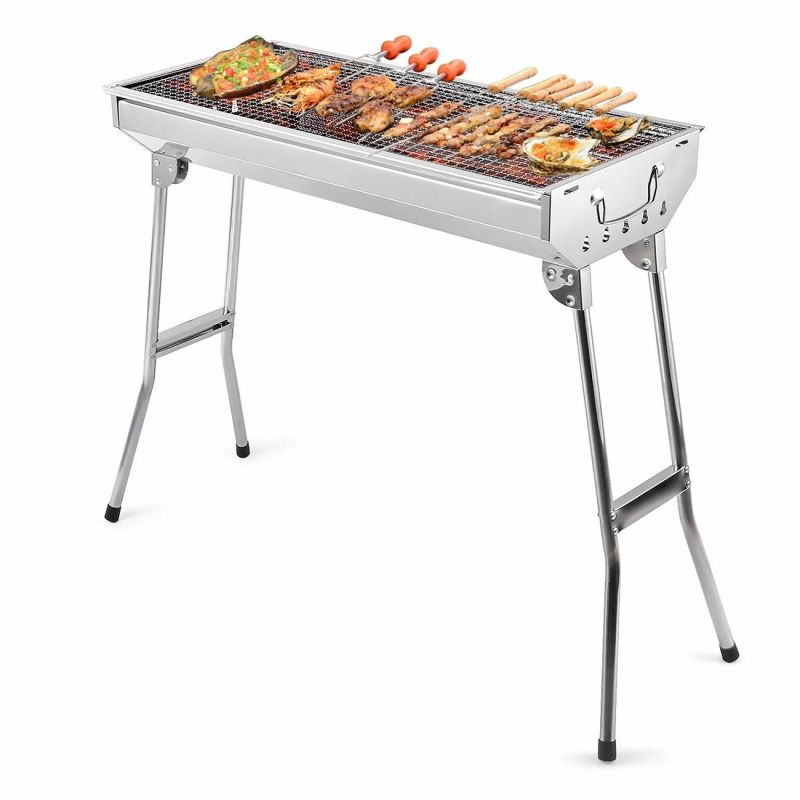 Barbecue Charcoal Grill Stainless Steel Folding Portable BBQ Tool Kits for Outdoor Cooking Camping Hiking Picnics Tailgating Backpacking or Any Outdoor Event (L