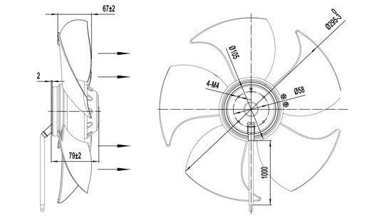 China Ac External Rotor Motor Axial Fan With Plastic