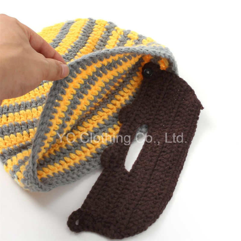 Diseño clásico de mano personalizado tejidos Crochet Barba Beanie ...