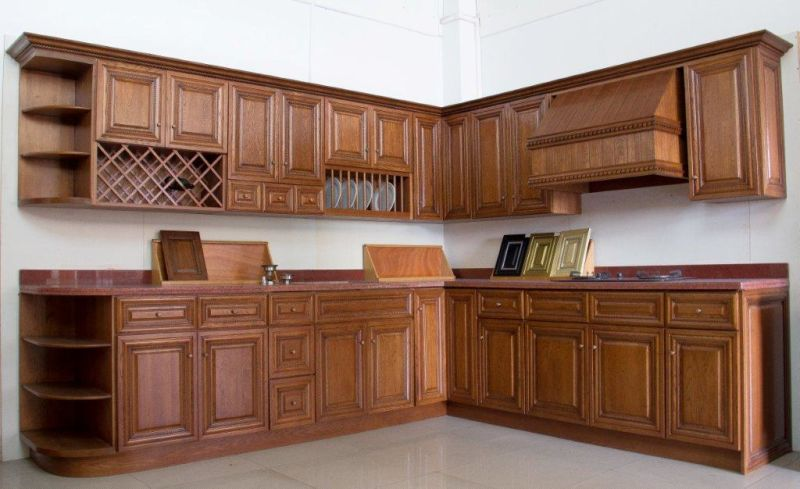 China American Style Walnut Color Kitchen Cabinet