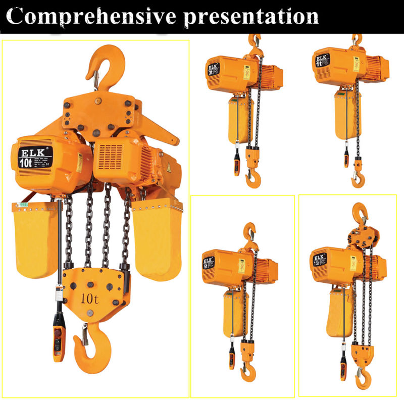 China elk 2ton kito type electric chain hoist with for 2 ton hoist with motorized trolley