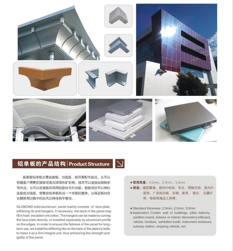 PVDF Solid Aluminium Panel for Curtain Wall (GL-005)