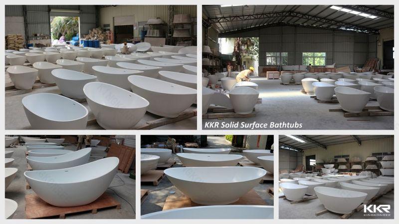 Vasca Da Bagno Freestanding Corian : Grande vasca da bagno indipendente rotonda di superficie solida di