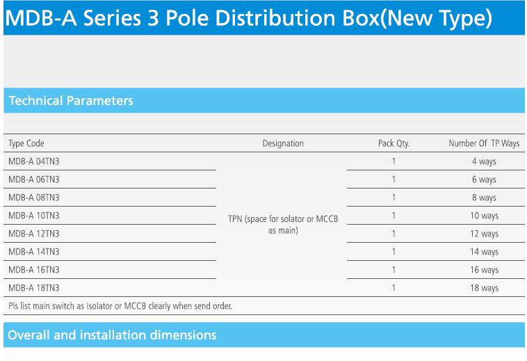 China Mdb-a (NEW TYPE) Tpn Three Phase Distribution Box Consumer ...