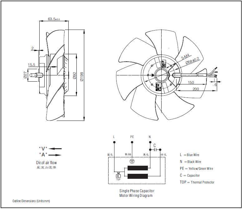 China 200mm Electric Motor Cooling Fan Blade Fj4e 200 V