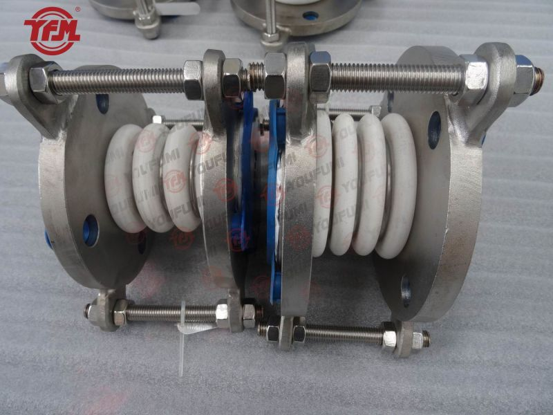 China ptfe lined bellow expansion joint flange compensator