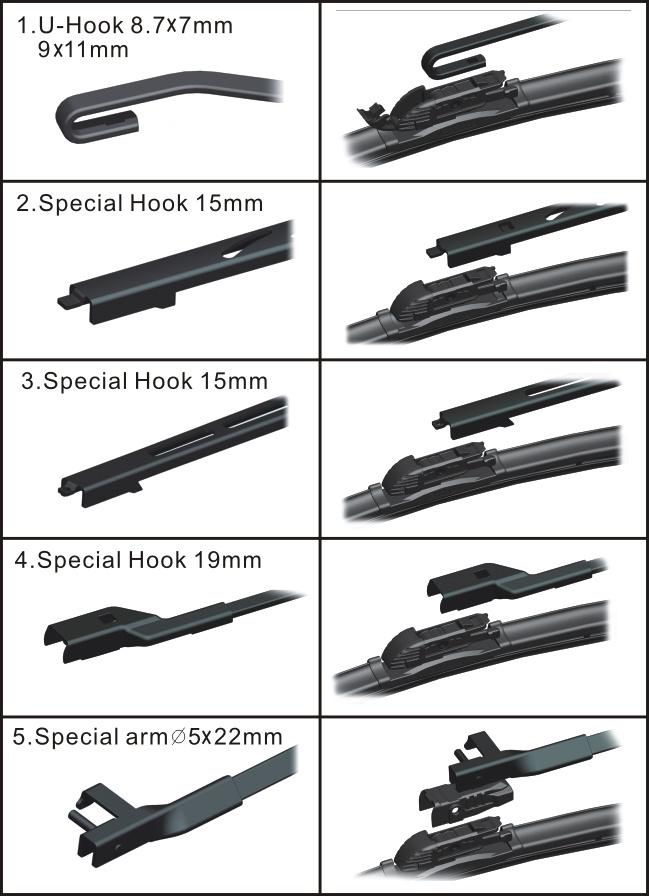 essuie glace hybride multi adaptor blade car les pi ces t190 essuie glace hybride multi. Black Bedroom Furniture Sets. Home Design Ideas
