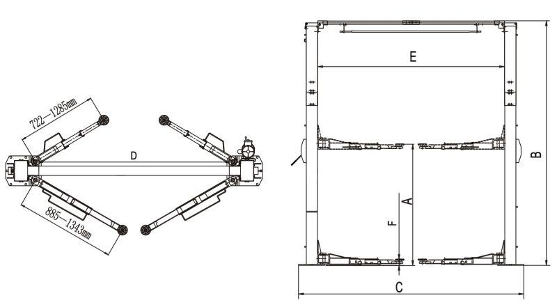 Super 2 workshop hidr ulico sim trica post carro elevador for Car lift plans