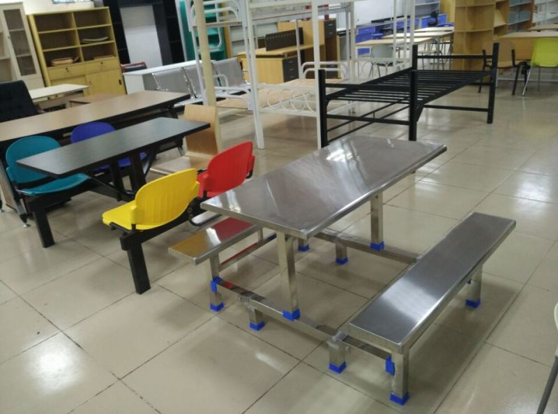 China stainless steel dining table and chair use for staff