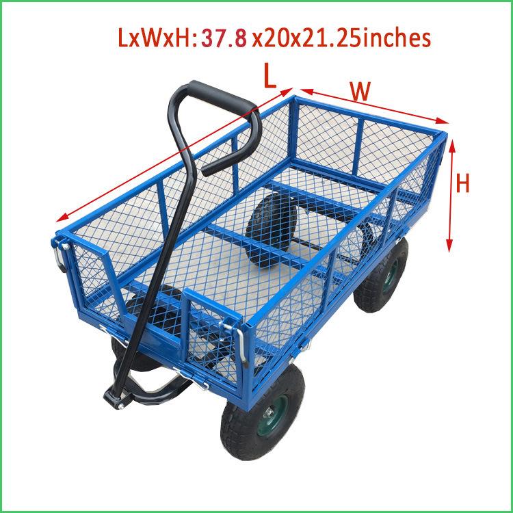 China New 4 Wheel Garden Cart Wagon Trolley Trailer Mesh Cart ...