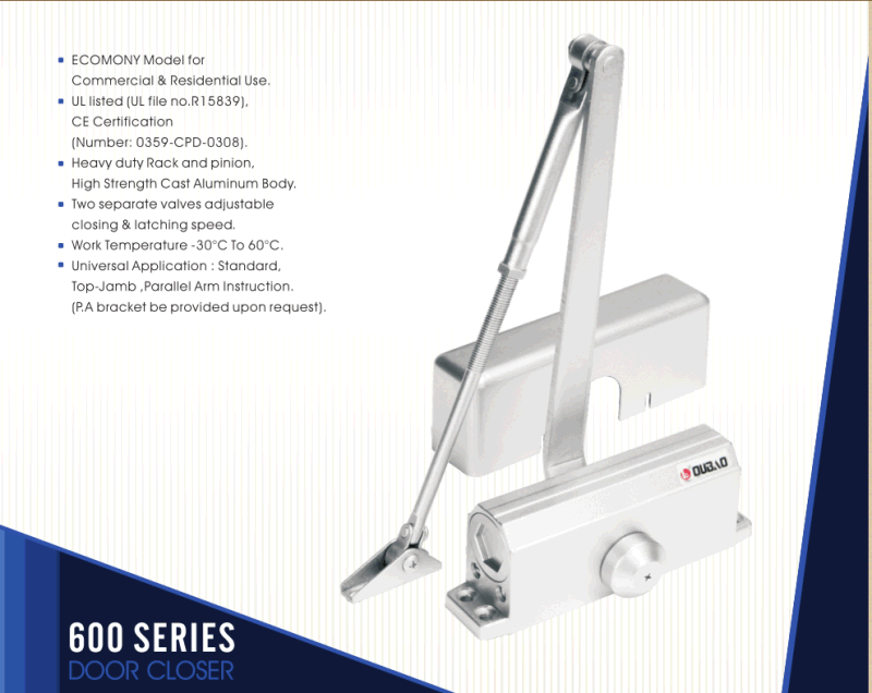 Adjustable Aluminium Door Closer (603) for Fire-Proof Door&UL&Ce