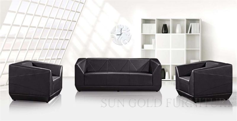 Beau bureau moderne de luxe noir canapé en cuir véritable jeu d