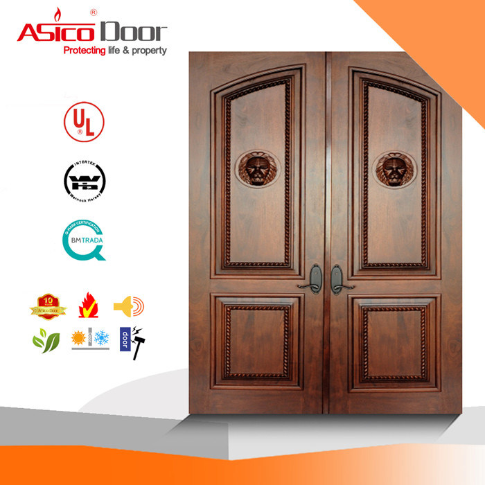 China Solid Interior Wooden Safety Door With High Quality Iso9001
