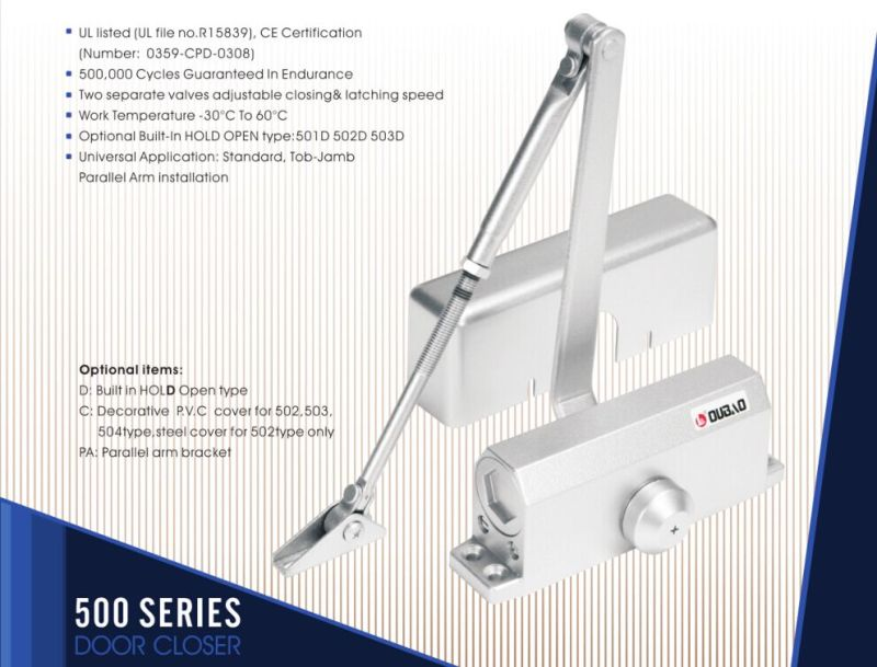 Adjustable Aluminium Door Closer (500 Series) for Fire-Proof Door&UL&Ce