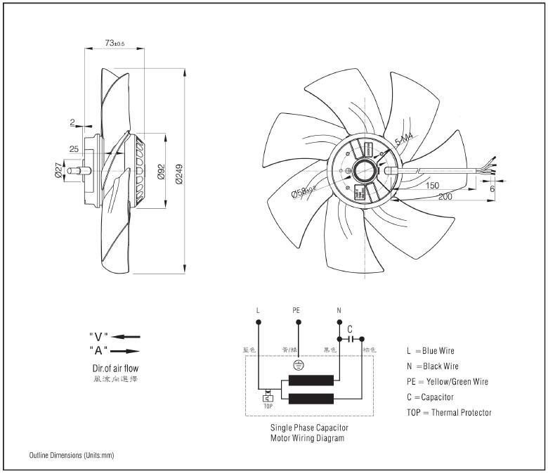 china 220v 230v industrial high pressure axial fan ac 250mm