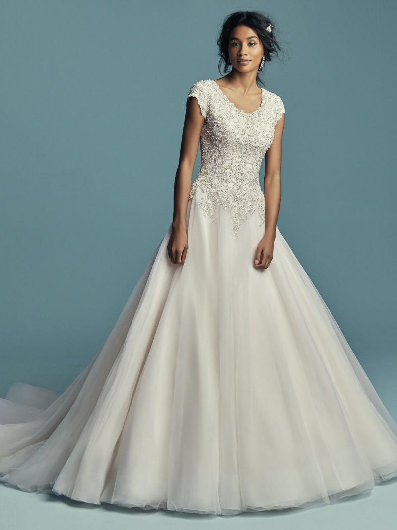Manga corta vestido de novia una línea Puntilla de tul vestido de ...
