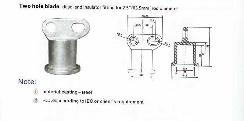 china two hole blade fitting for suspension insulator