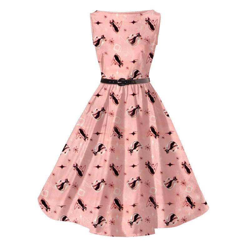 La impresión de Kitty Audrey Hepburn Plus Size vestido de algodón ...