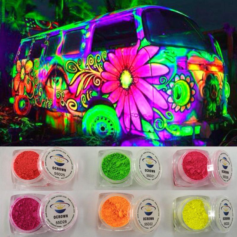 Multi-Colored polvo fluorescente pigmento de neón, pintura de coches ...