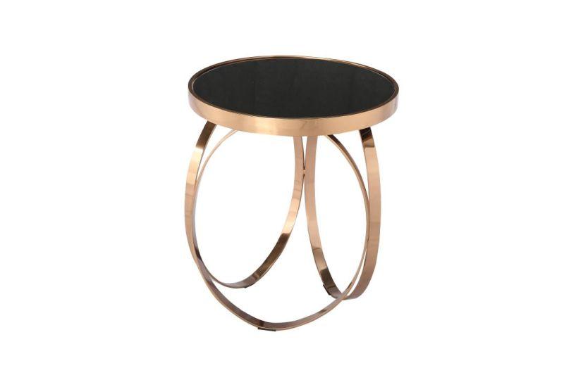 Mesa de café de cristal templado de color negro con rosa de marco ...