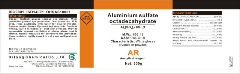 China Lab Usage 7784 31 8 Aluminum Sulfate China Aluminum Sulfate