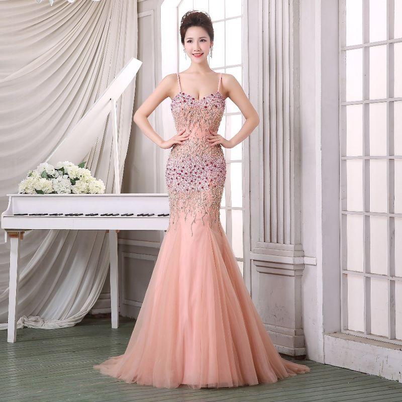El lujo de la línea de una larga noche vestidos novia vestidos de ...