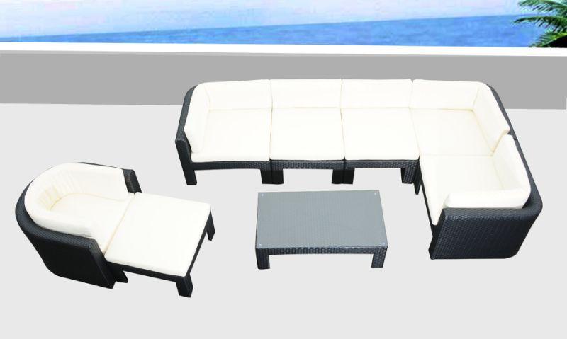 Muebles de mimbre al aire libre jard n sof esquina for Sofa exterior esquina