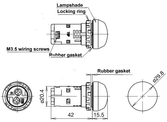 china factory price 22mm mini led voltmeter voltage meter indicator pilot light ac50