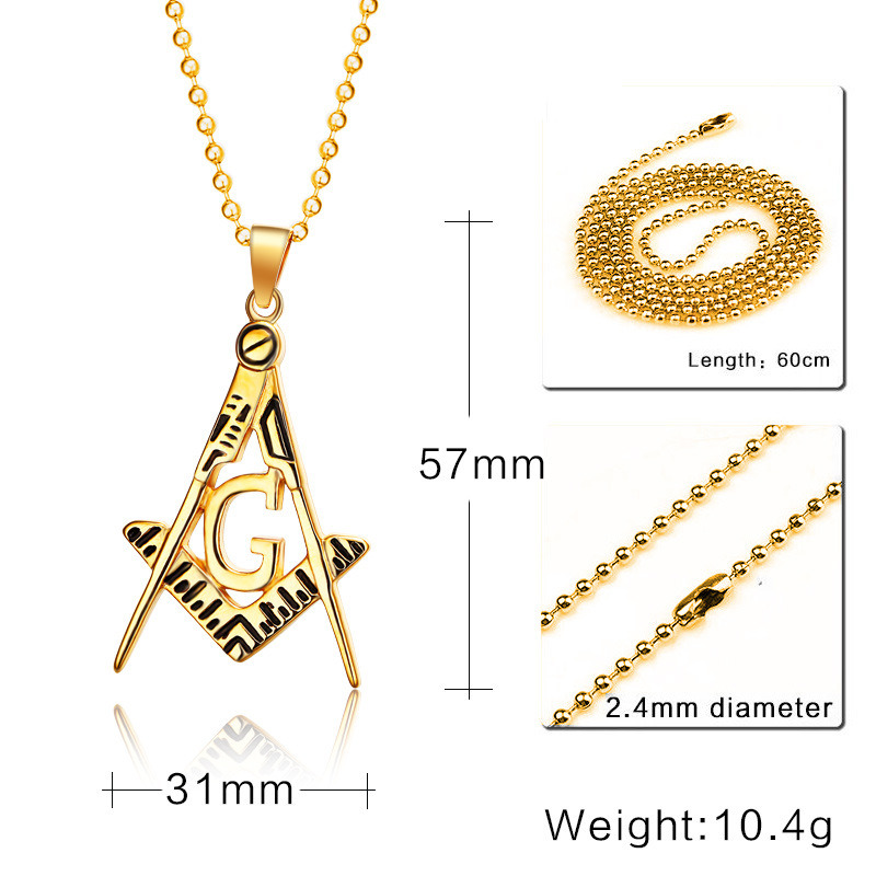 China 316 l stainless steel men gold color hip hop masonic pendant s 316 l stainless steel men gold color hip hop masonic pendant necklace with 60cm cuban link aloadofball Gallery