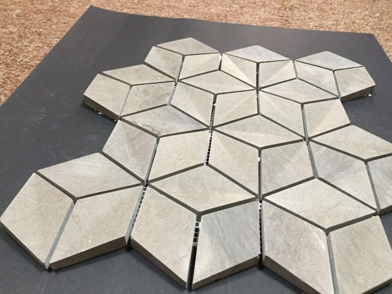 China Special Gray 3D Diamond Marble Mosaic Polished Tile - China 3D ...