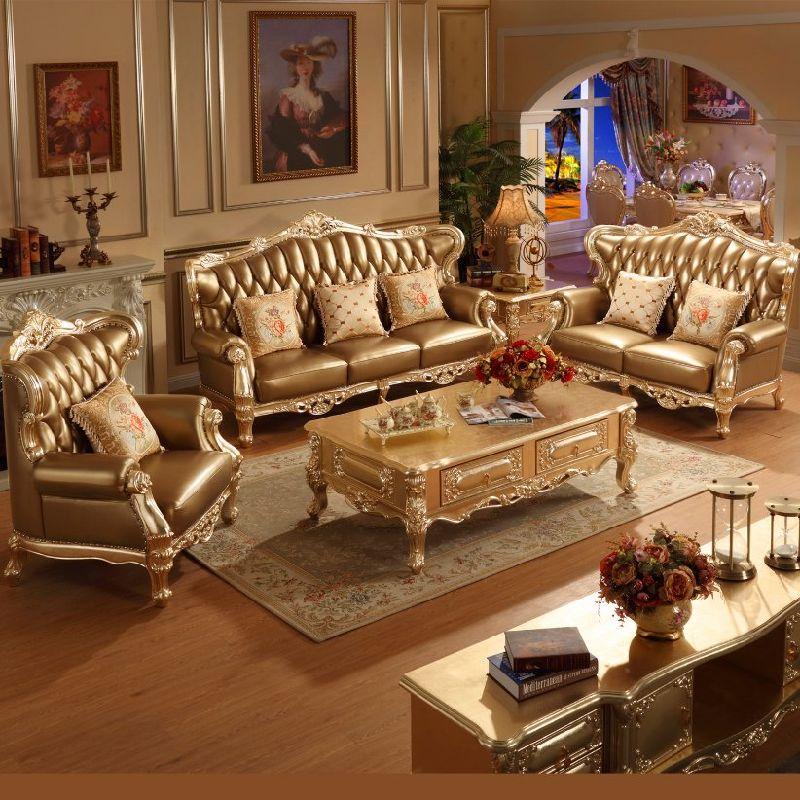 Sof de couro cl ssico com a tabela para a mob lia home for Mobilia home catalogo