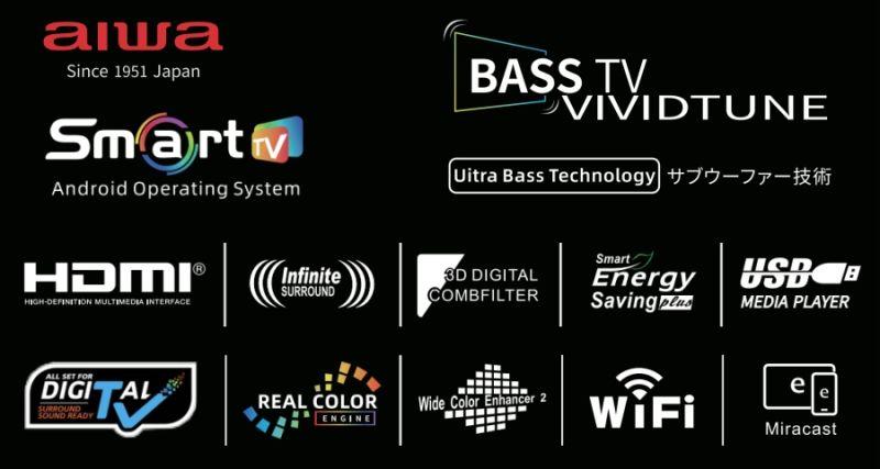 D18 50 Inch Aiwa Flat Screen Ultra Slim HiFi Music Android Smart UHD 4K LCD LED TV