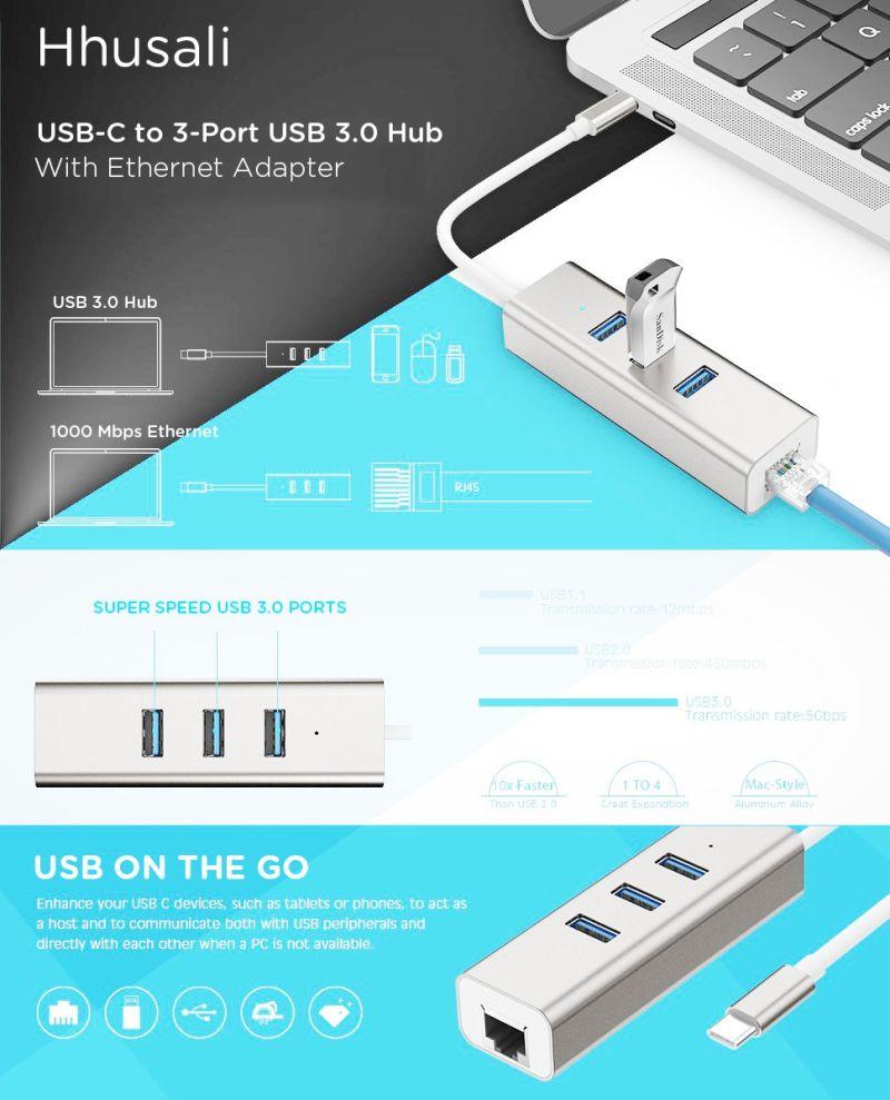 3 Puertos USB-C A USB 3.0 HUB de Datos Portátil de Aluminio con ...