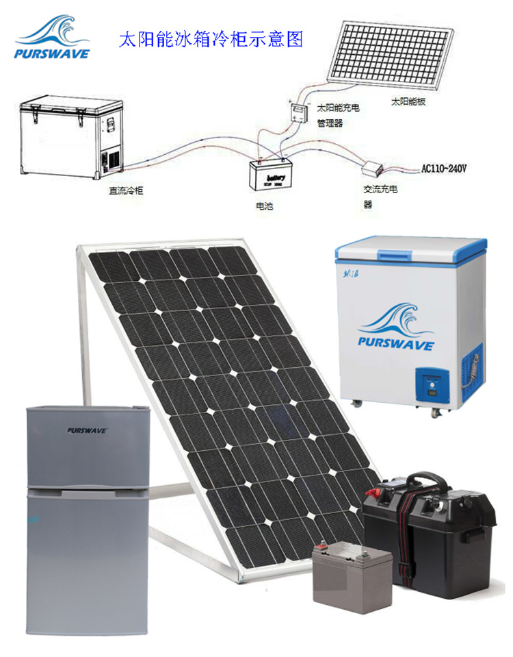 Purswave Srsf 168 168l Dc Solar Chest Freezer 12v24v48v Glass Door